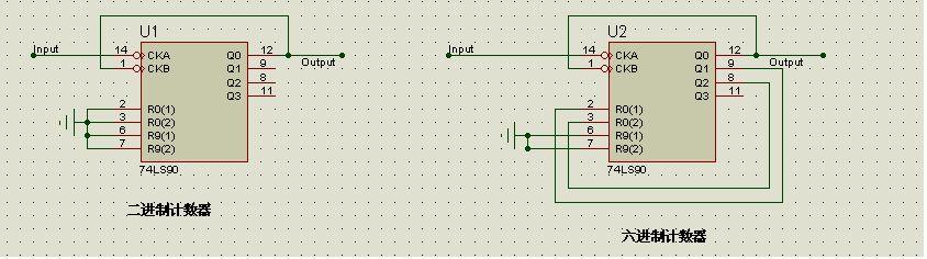 用74ls90实现二进码的六进制计数器,画出逻辑图