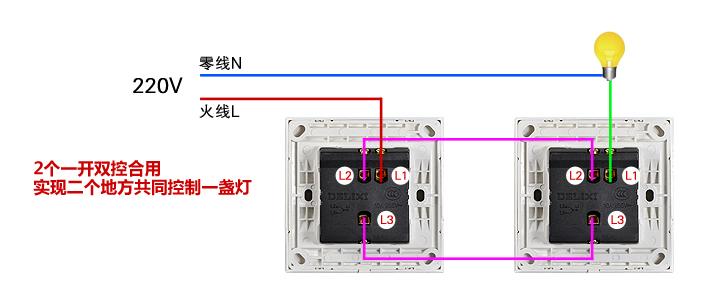 一灯双控开关应该穿几根电线 一灯双控开关,每个开关的接线盒应该穿3