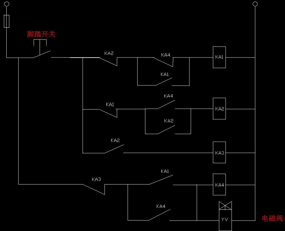 三个中间继电器,一个点动开关,按一下灯亮再按一下灯就灭怎样画电路图