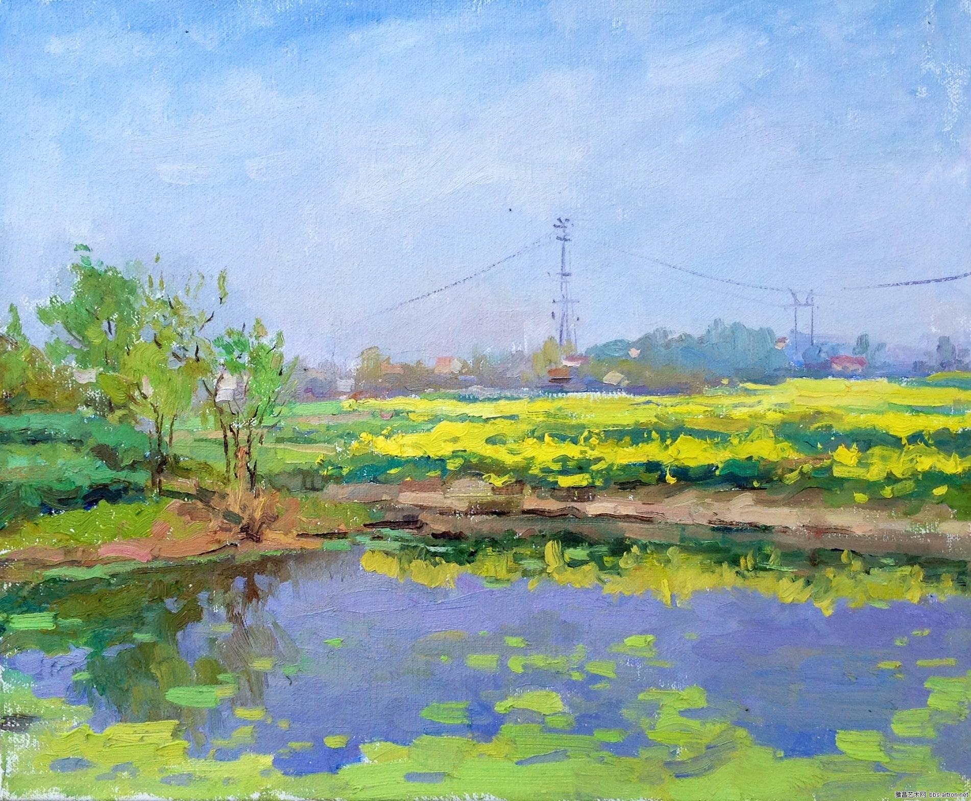 水粉池塘风景画
