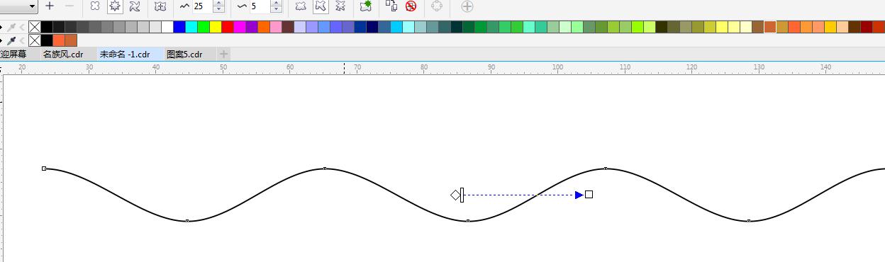 5,选择平滑变形之后变成波浪线,可以调整振幅和频率来达到想要的波浪