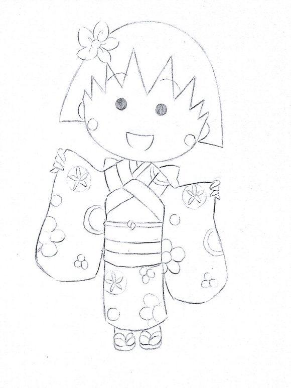 樱桃小丸子手绘图