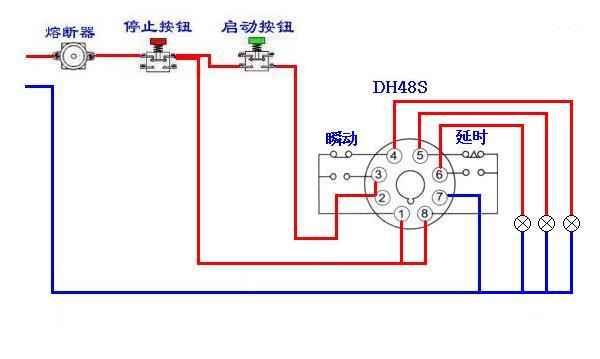 dh48s 和一个普通中间继电器,一个启动按钮,怎么接自锁?