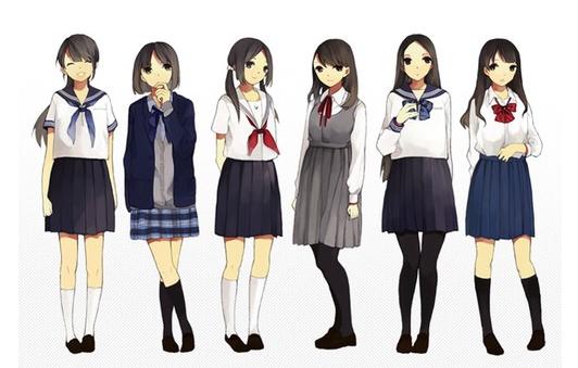 求穿日本高中校服的女生动漫图图片