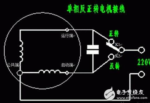 单相220v如何实现电机正反转,如何接线?工作原理是什么?