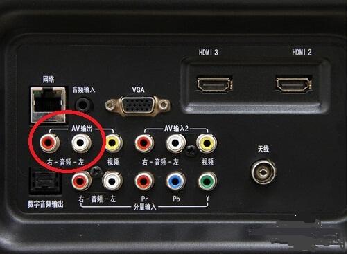 找到电视上面的耳机孔/av输出孔/音频输出孔