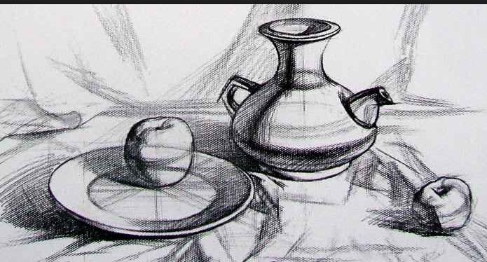 素描盘子怎么画,图片