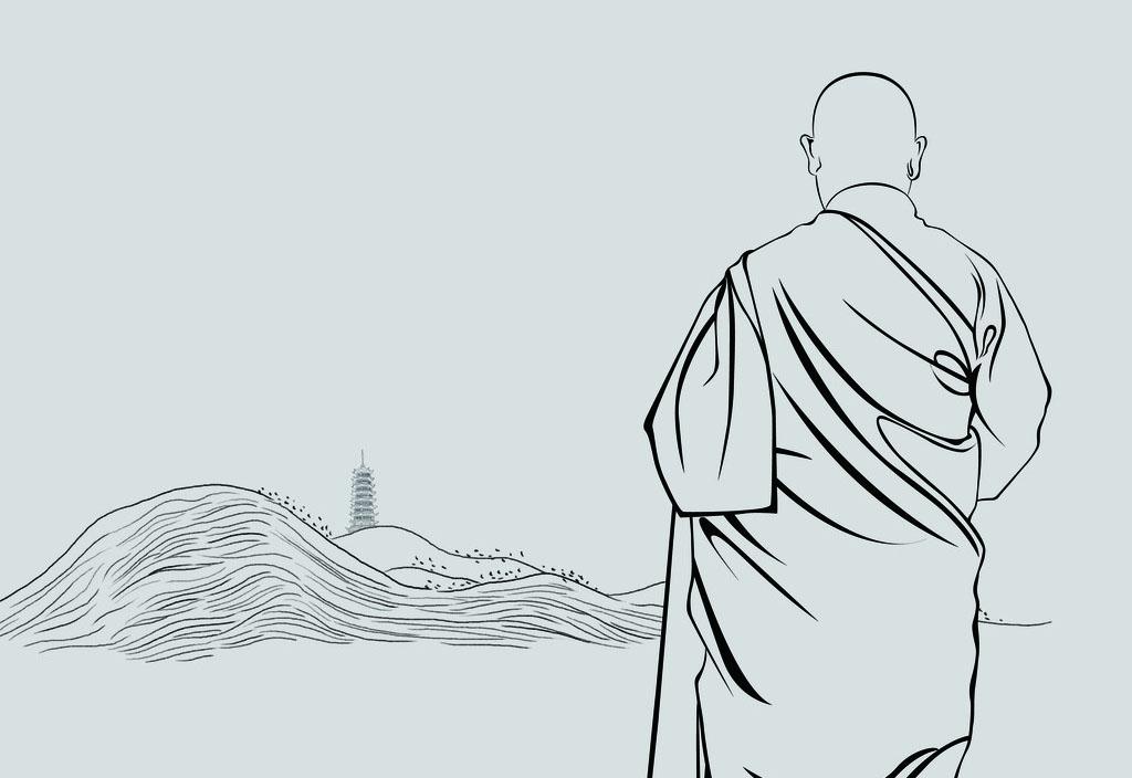 一个人走向寺庙的高清,带着禅意的意境图?