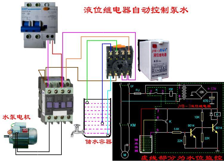 液位电子继电器控制双水塔水位