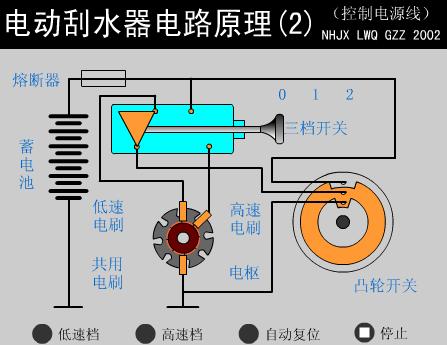 求电路图. 雨刮器的复位垫片与一般的不同,没有地线驱动运转.