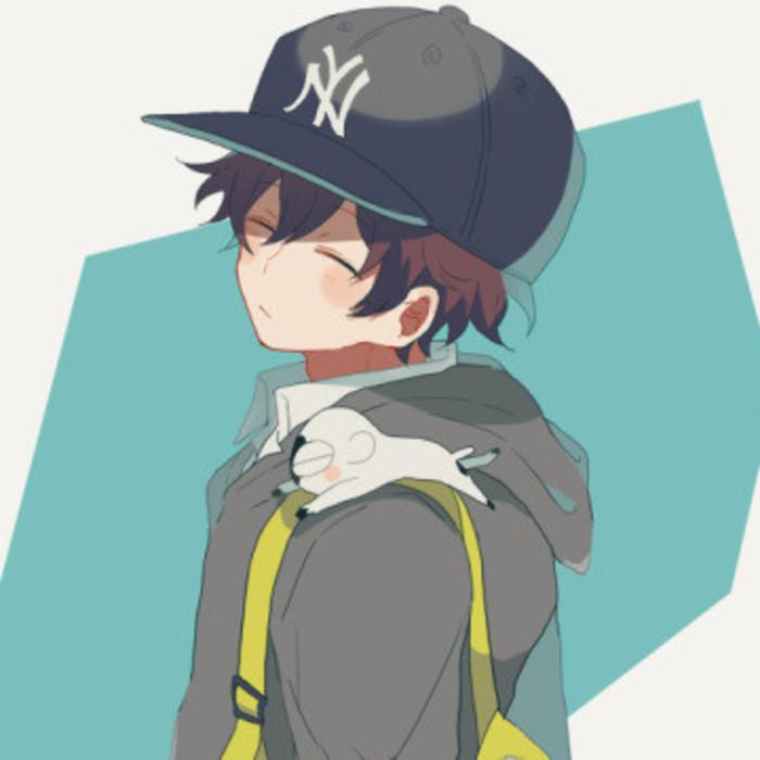 戴帽子的男生动漫头像图片
