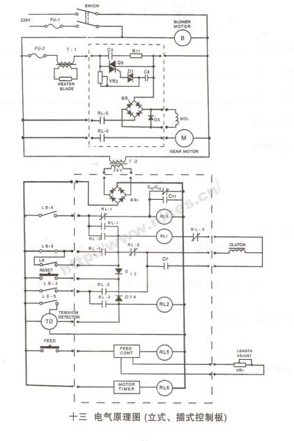 求半自动打包机插板电路图及外连线路图,板上有5个继电器,一个调温