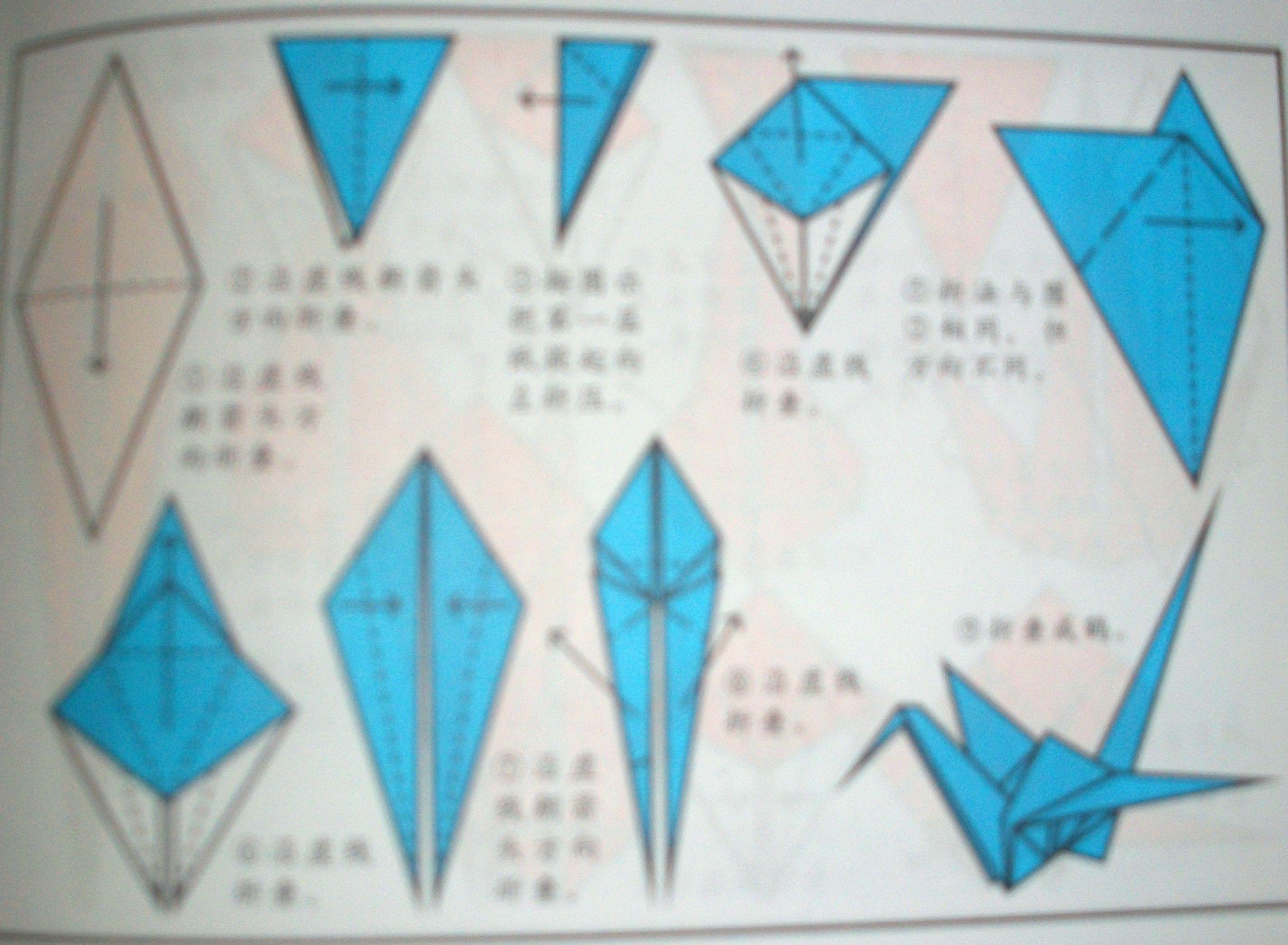 正方形纸沿折线对折 2.再对折 3.打开纸张并且压平 4.翻转 5.