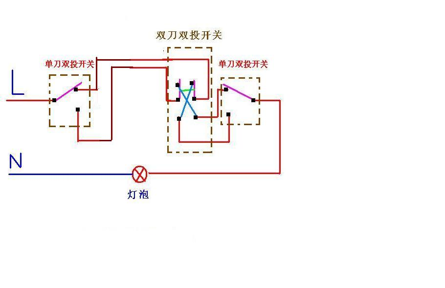 电工三控灯电路图怎么画