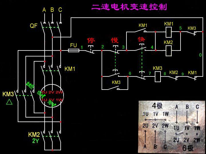 三相异步双速电机怎样接交流接触器,最好是实物图,请那位大师指点一下