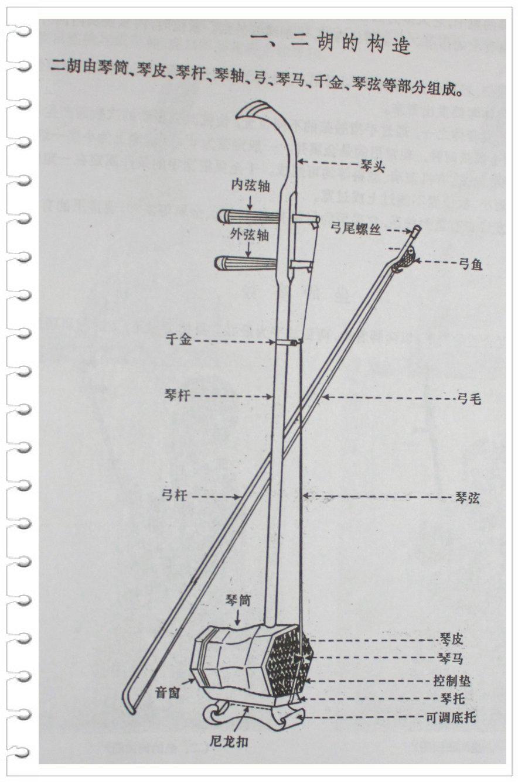 二胡由琴筒,琴皮,琴杆,琴头,琴轴,千斤,琴马,弓子和琴弦等部分组成图片