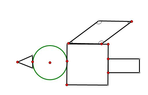用长方形 正方形 圆形 三角形 平行四边形设计一个