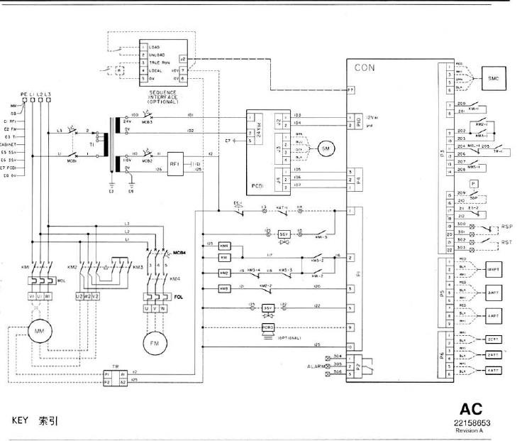 求ml250型英格索兰空压机电器柜接线图,是低压380v的.