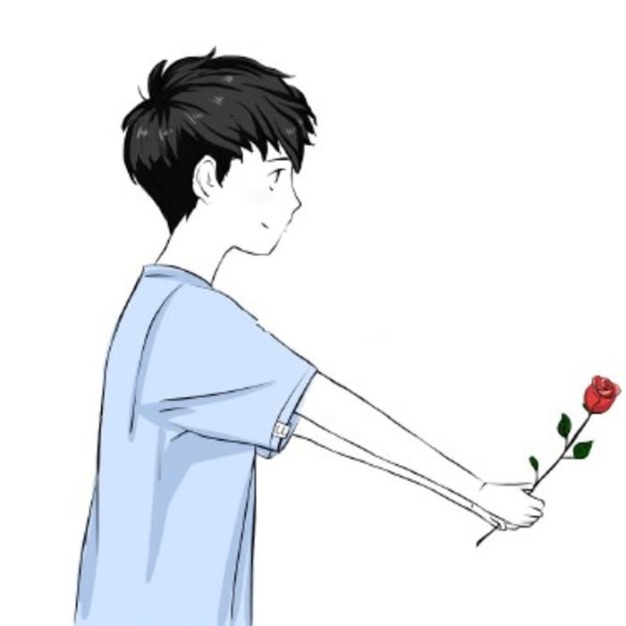 情侣头像动漫一个男孩拿着一朵玫瑰花,对面一个女孩用