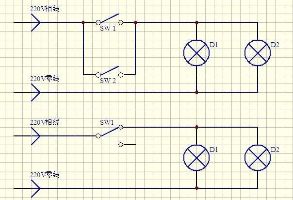2个灯 原来都是一个开关控制一个 我现在要并联 用双控开关里面只有三