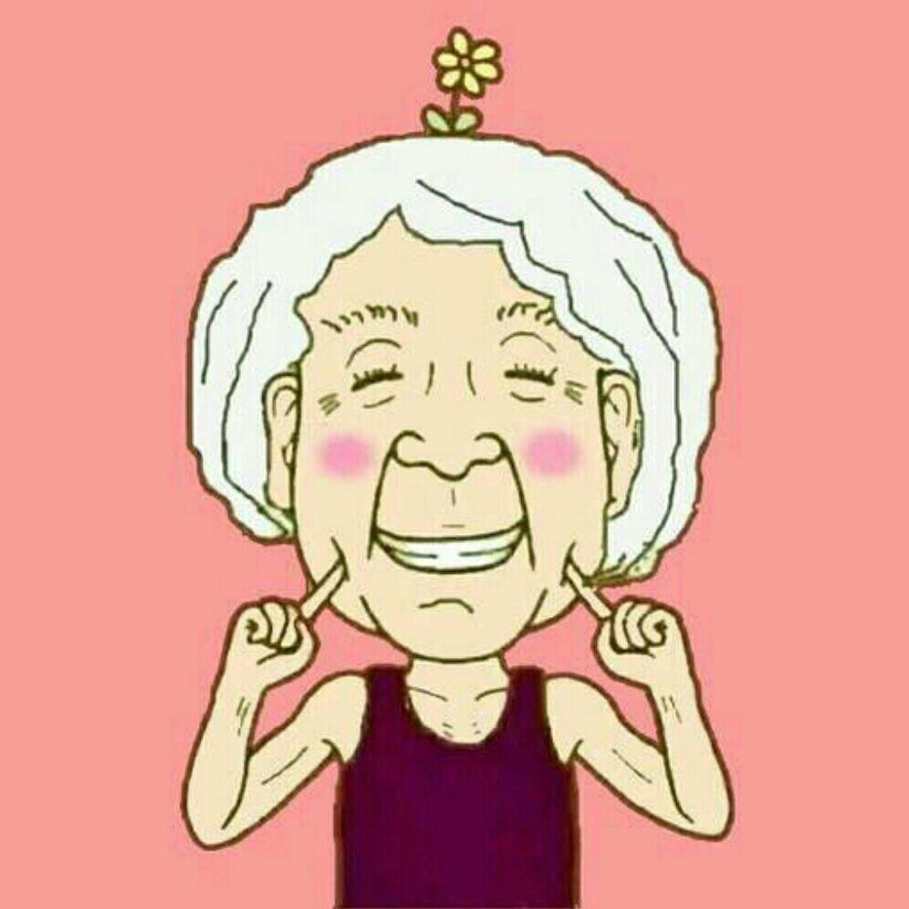 求一张卡通老奶奶头像,头上一朵花