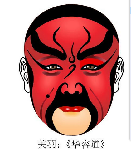 求关公京剧脸谱图片和一个女性京剧角色的脸谱(要好看