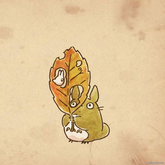 桌面壁纸龙猫手绘