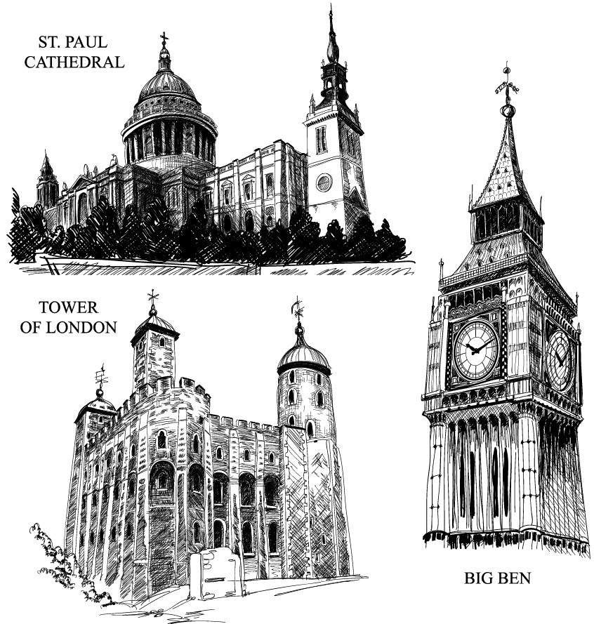 泰姬陵建筑手绘