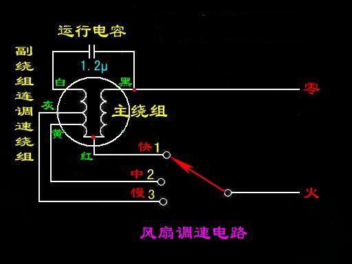 风扇电机五根线,请问高中低档和电容怎么接线.