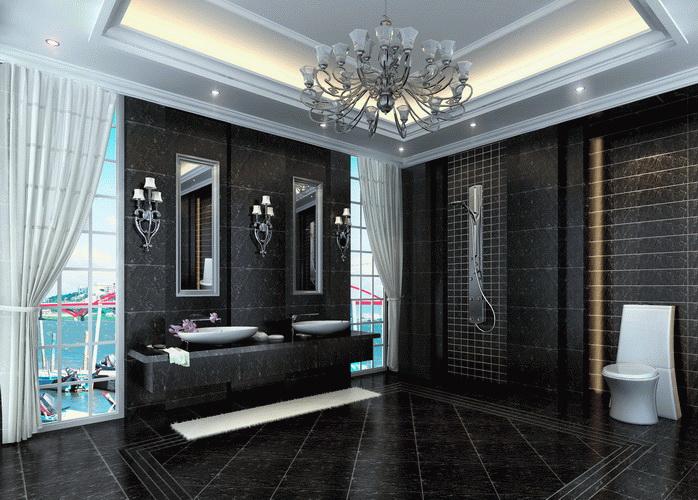客厅,餐厅,过道使用全黑地瓷砖,使用什么颜色的起脚线