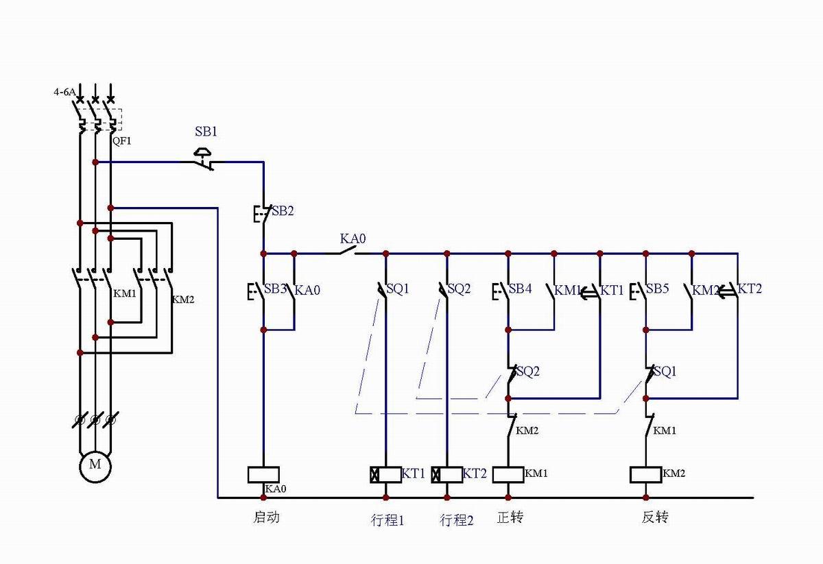 电机正转单限位后断电接线图