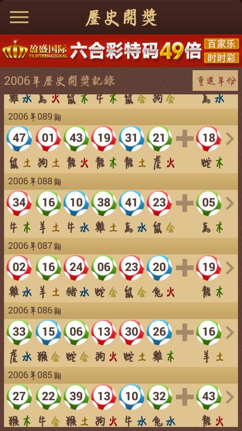 2006年o88期开奖记录结果