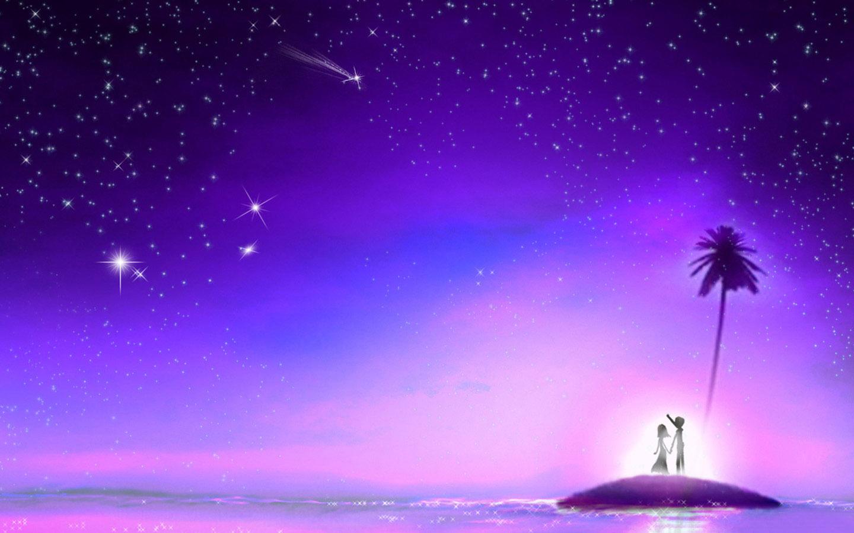 淡紫色手绘流星雨背景