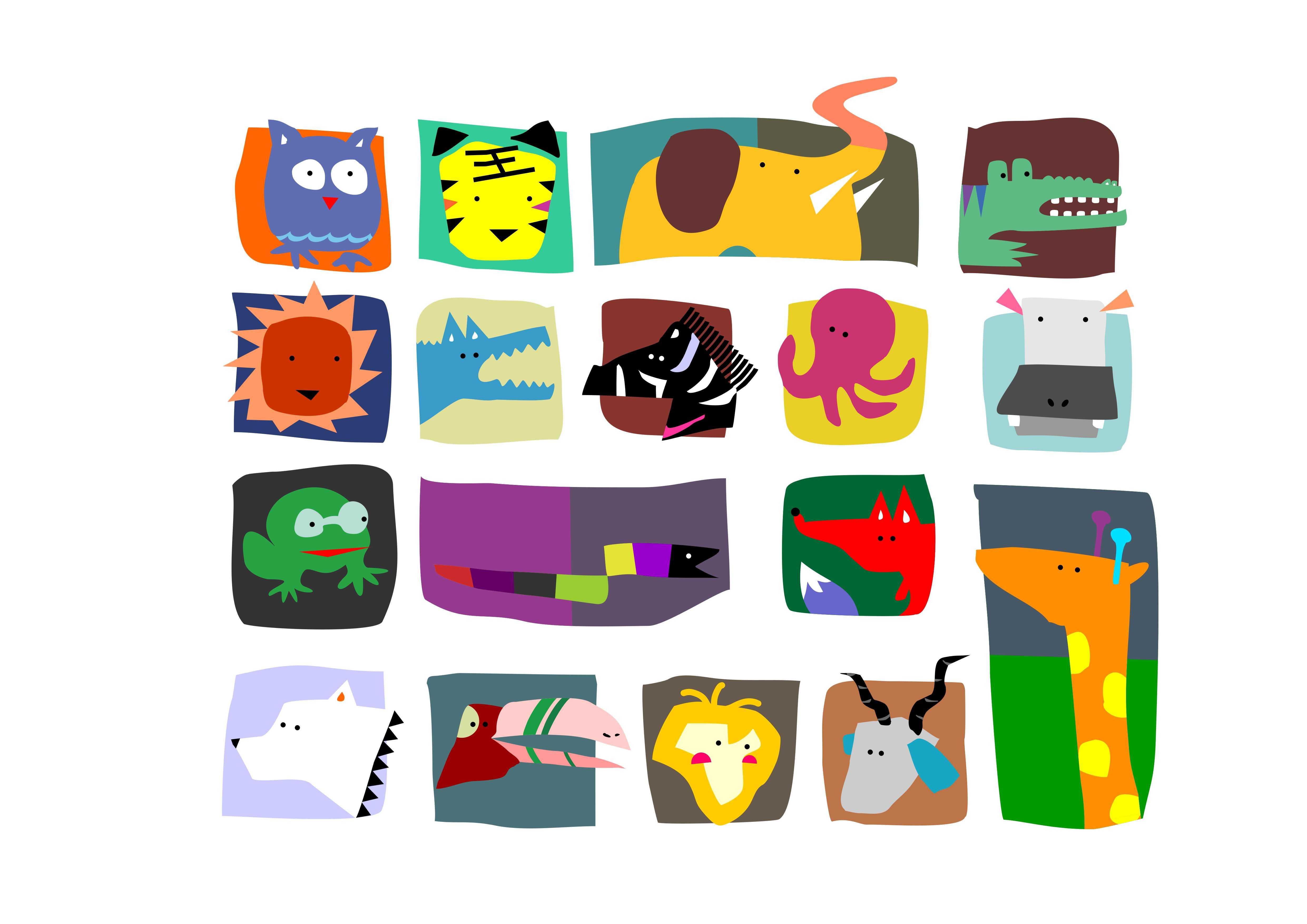帮忙找素材图,上面有很多动物的平面形状图拼在一起的图片