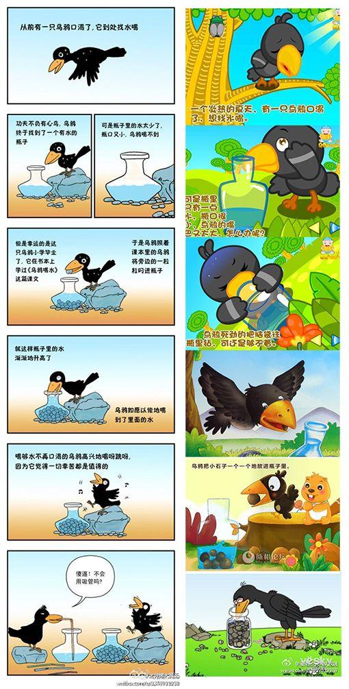 求乌鸦喝水全过程的简笔画图片,如下图图片