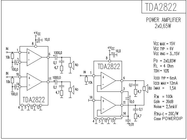 tda2822功放电路图