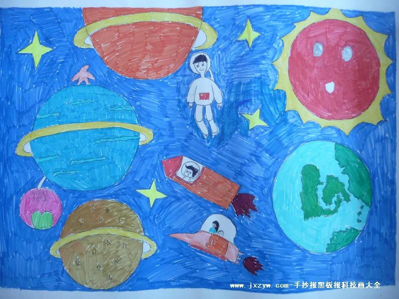 小学生简单科幻画
