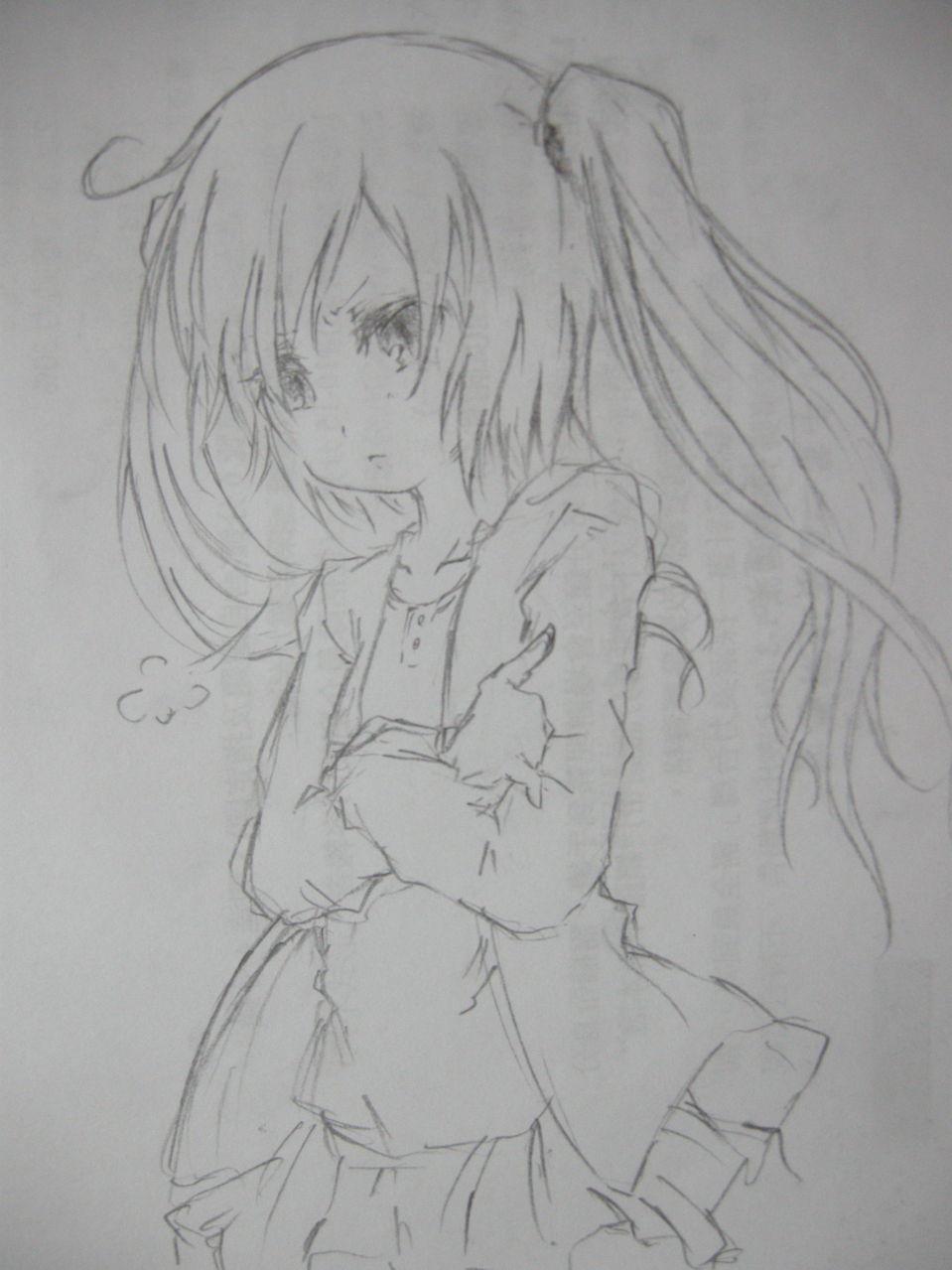 铅笔手绘的动漫少女图片,要躺着的,全身图.