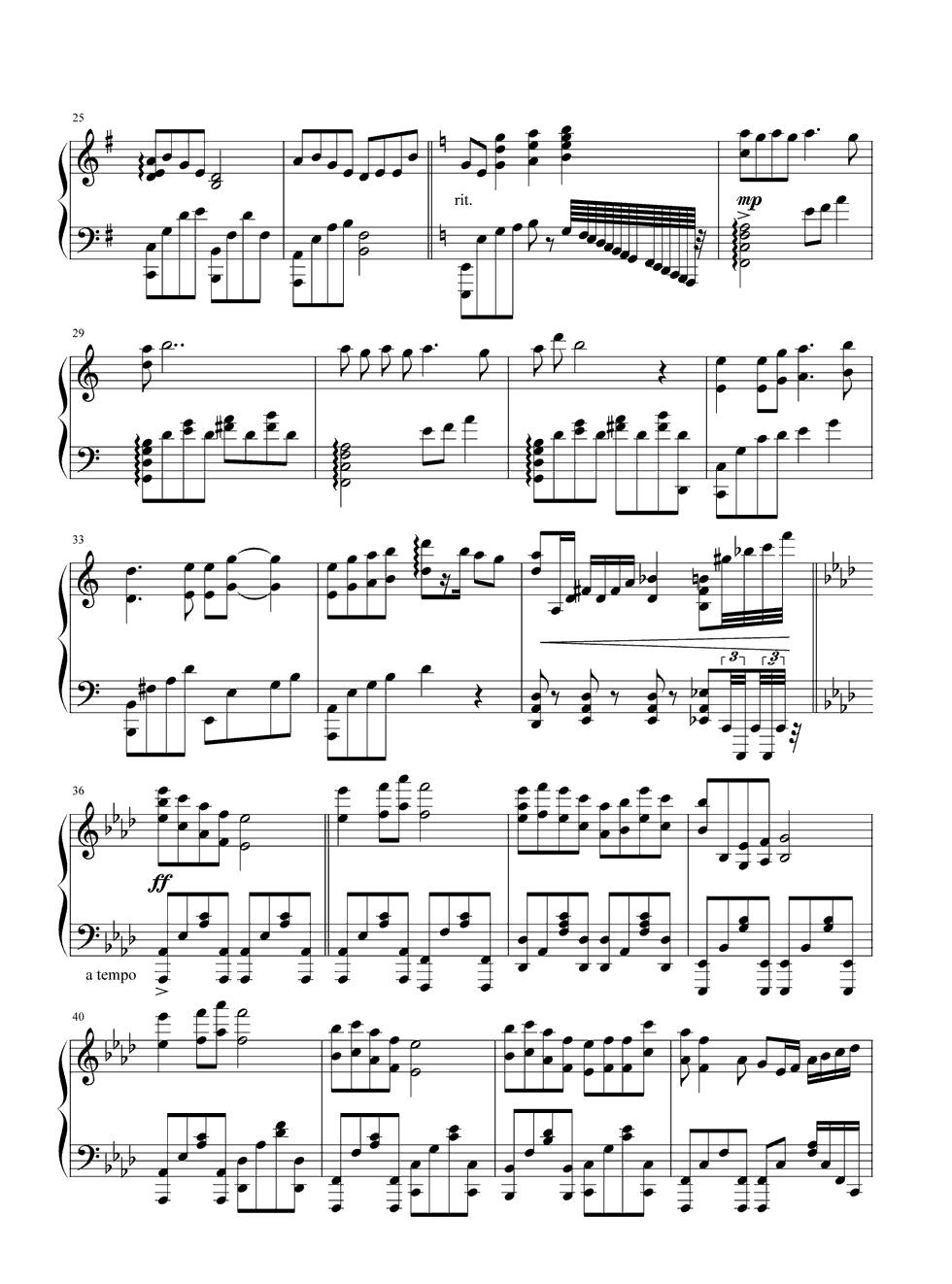 《鸿雁》钢琴谱