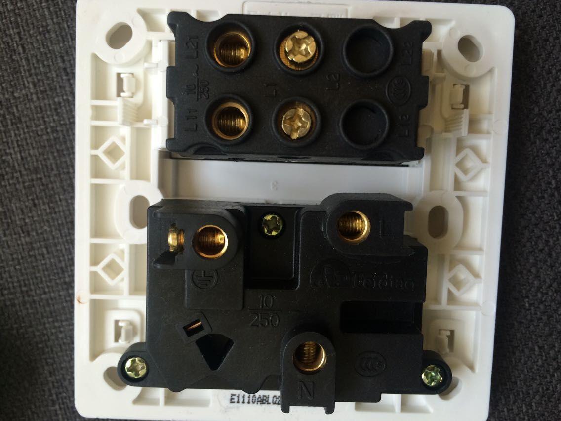 飞雕牌两开单控带五孔插座如何接线 实现单控
