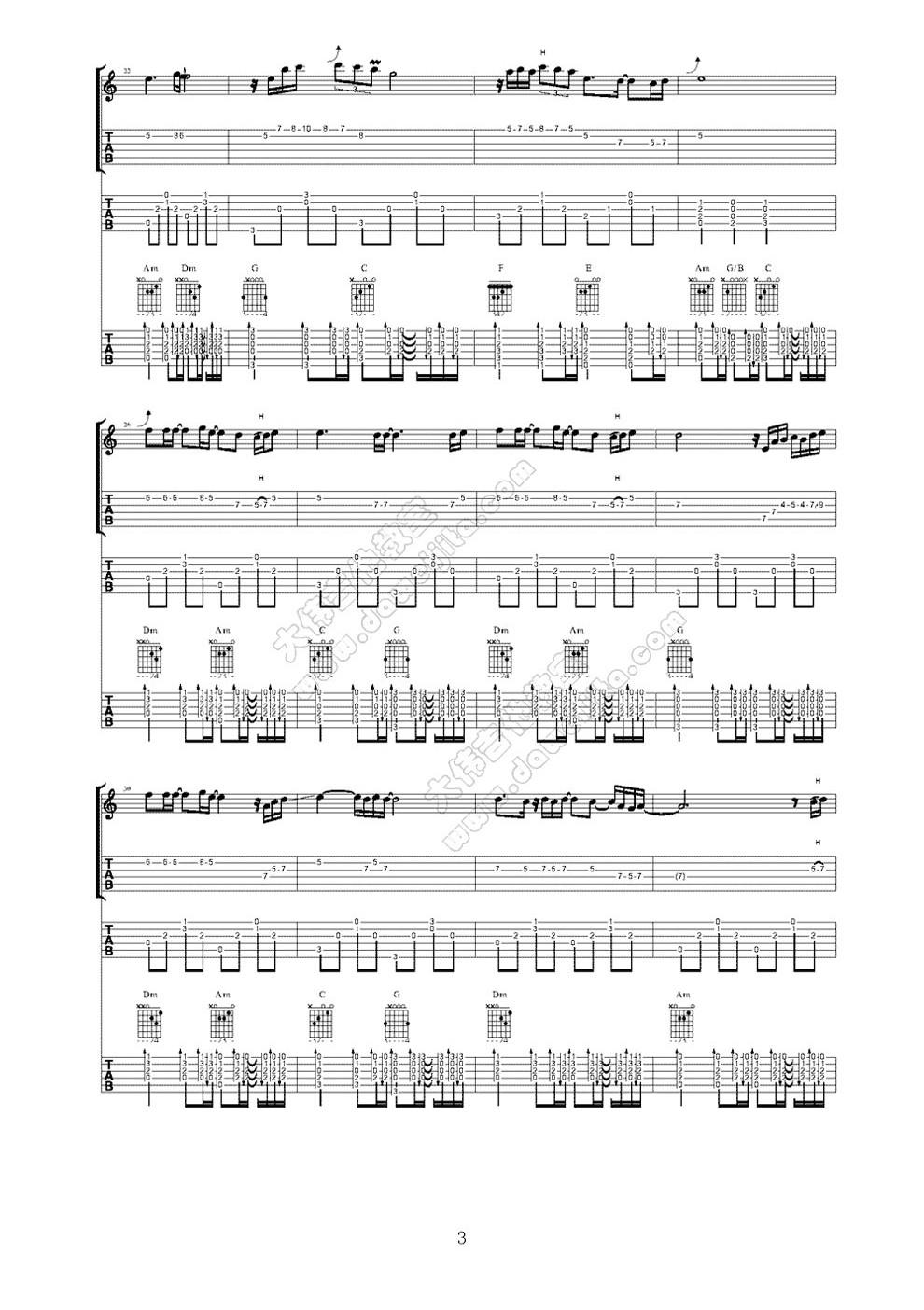 急求《great morning(习惯假装)》和《severely》 的吉他六线谱!