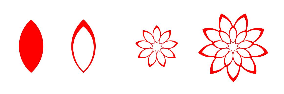 展开全部 画一个小花瓣,旋转复制,调整大小,再复制整大花瓣旋转