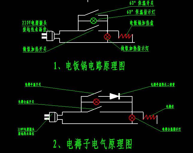 电饭锅的电路图怎么画?简单的