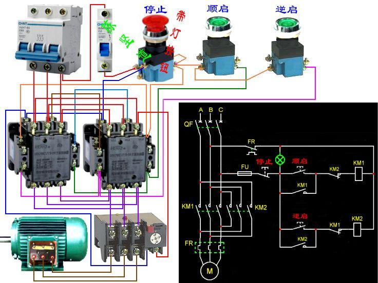 应为热继电器1个,交流接触器2个才能组成电机顺逆转控制电路.