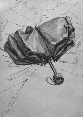 谁有折叠伞的素描画?