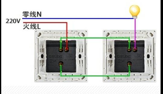 三根线连接两个暗装盒,另一个盒里还有火线和灯线,应该怎么接实现双控