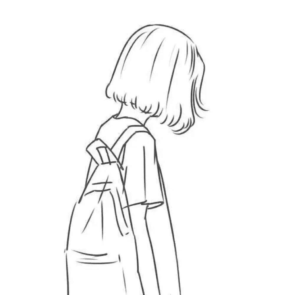 背影手绘铅笔图片