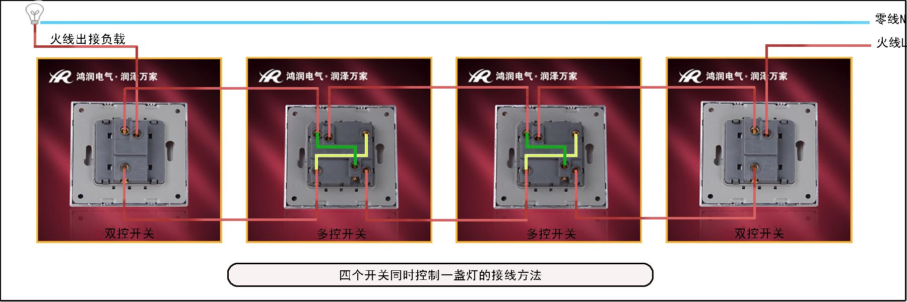 四个开关控制一盏灯接线图