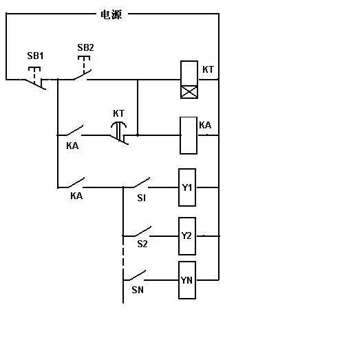 求电路图:时间继电器控制泵和多个电磁阀,满意追分
