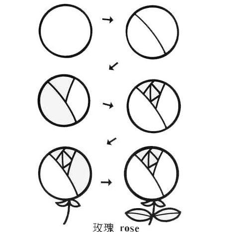 直线玫瑰花怎么画
